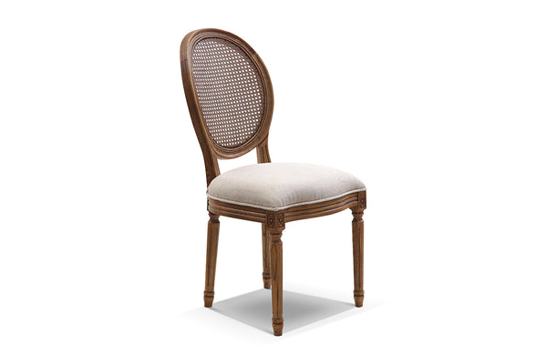 Chaise Louis XVI médaillon canné en lin naturel