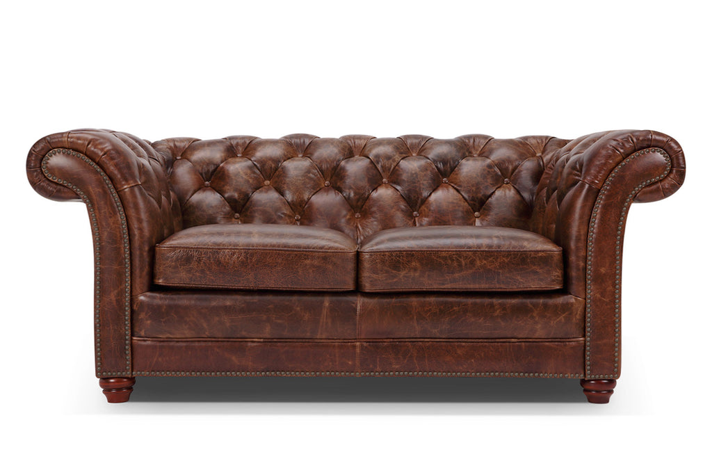 canap chesterfield en cuir westminster 2 places rose moore. Black Bedroom Furniture Sets. Home Design Ideas