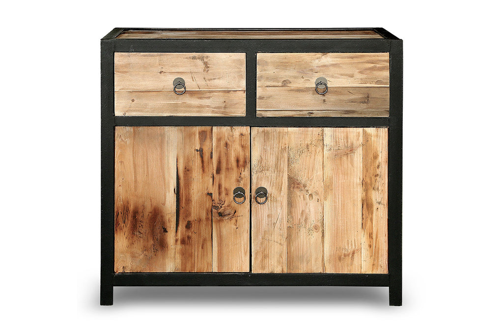 Buffet industriel en bois et m tal vb02 rose moore for Petit buffet industriel