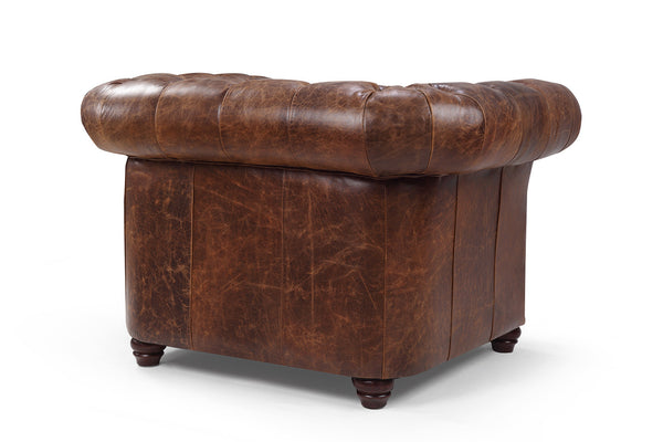 Dos du Fauteuil Chesterfield en Cuir Westminster Rose & Moore