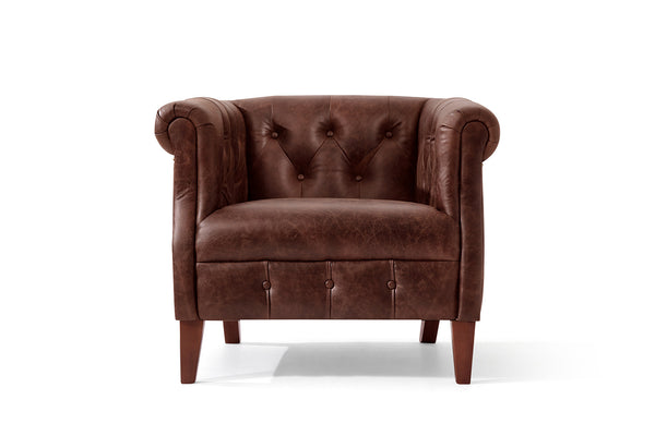 Fauteuil Chesterfield en Cuir Regency Rose & Moore de face