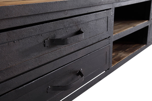 meuble tv industriel roulettes bois et m tal tv01. Black Bedroom Furniture Sets. Home Design Ideas