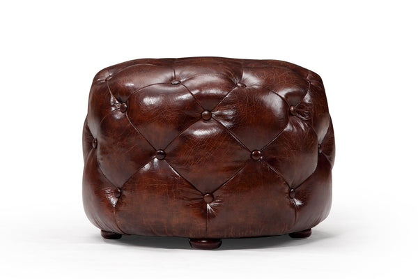 Pouf en cuir Chesterfield