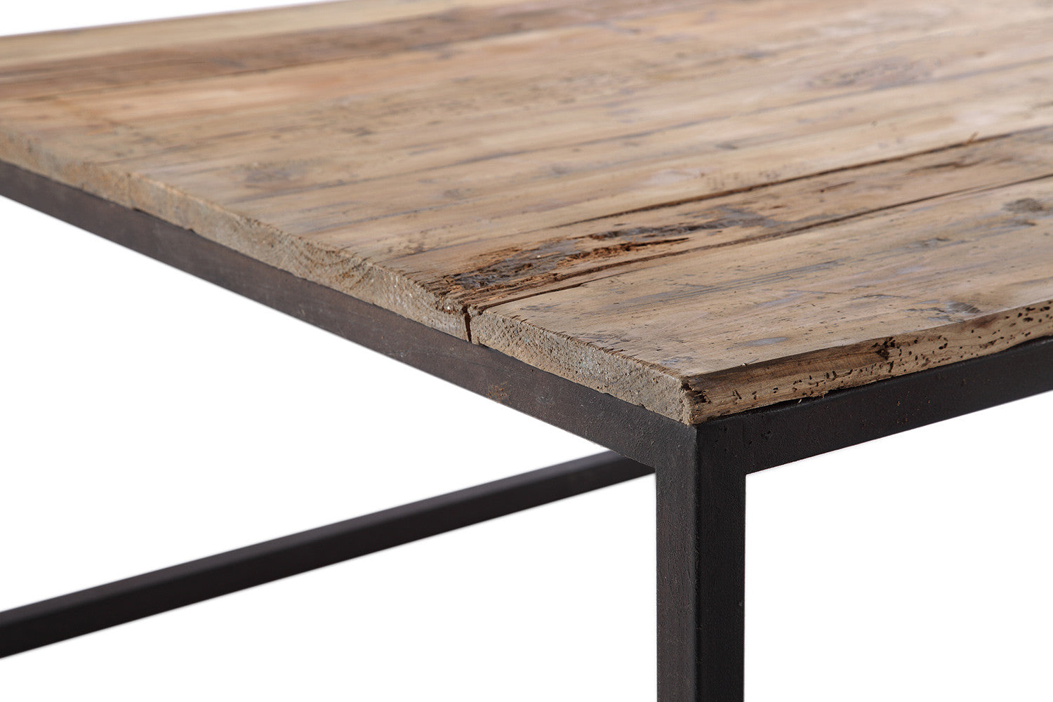 Table basse vieux bois et metal for Table bois metal rallonge