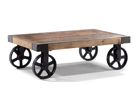 Table basse industrielle en m tal et bois rose moore - Table basse industrielle metal et bois ...