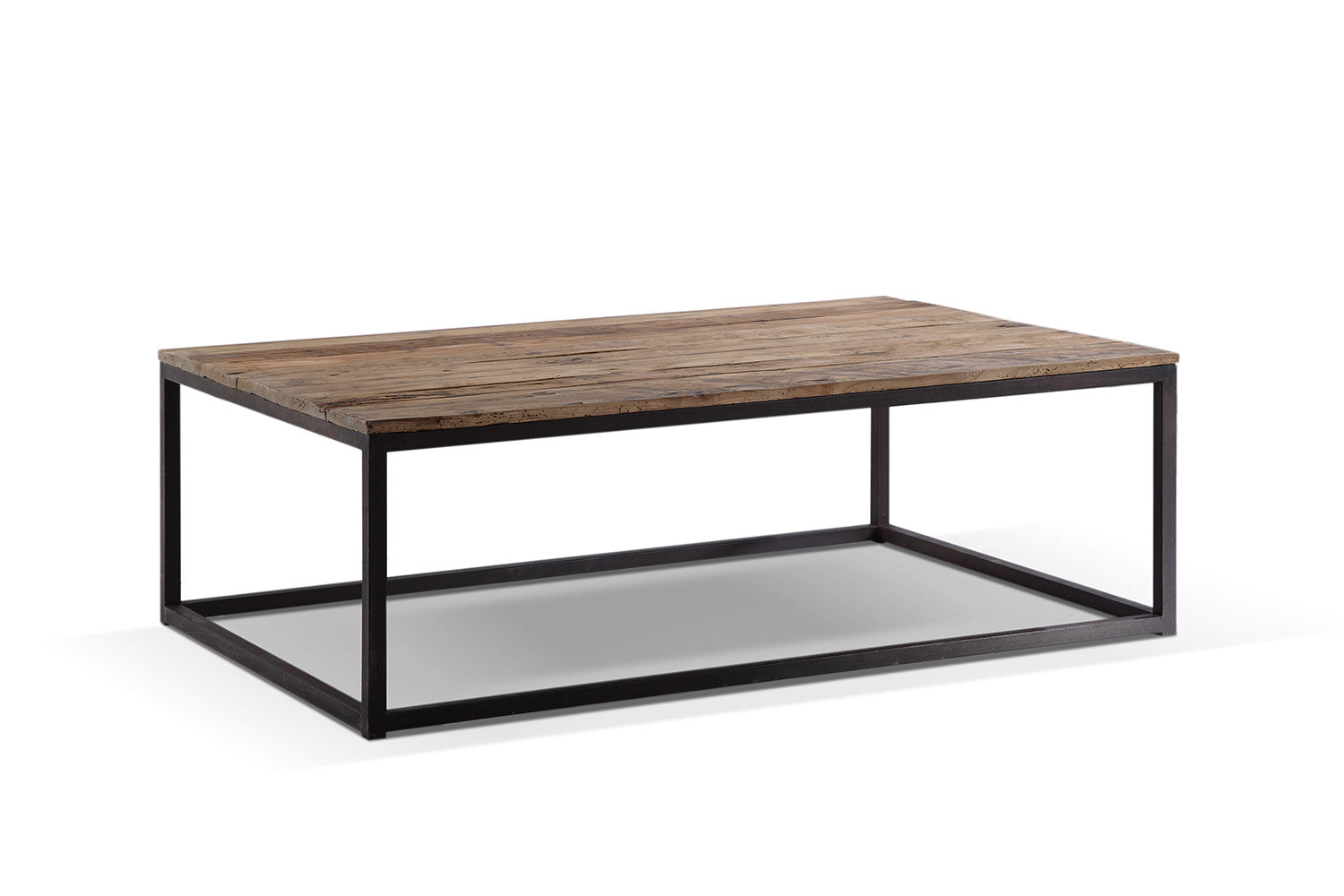 Table basse industrielle en m tal et bois rose moore for Table fer et bois