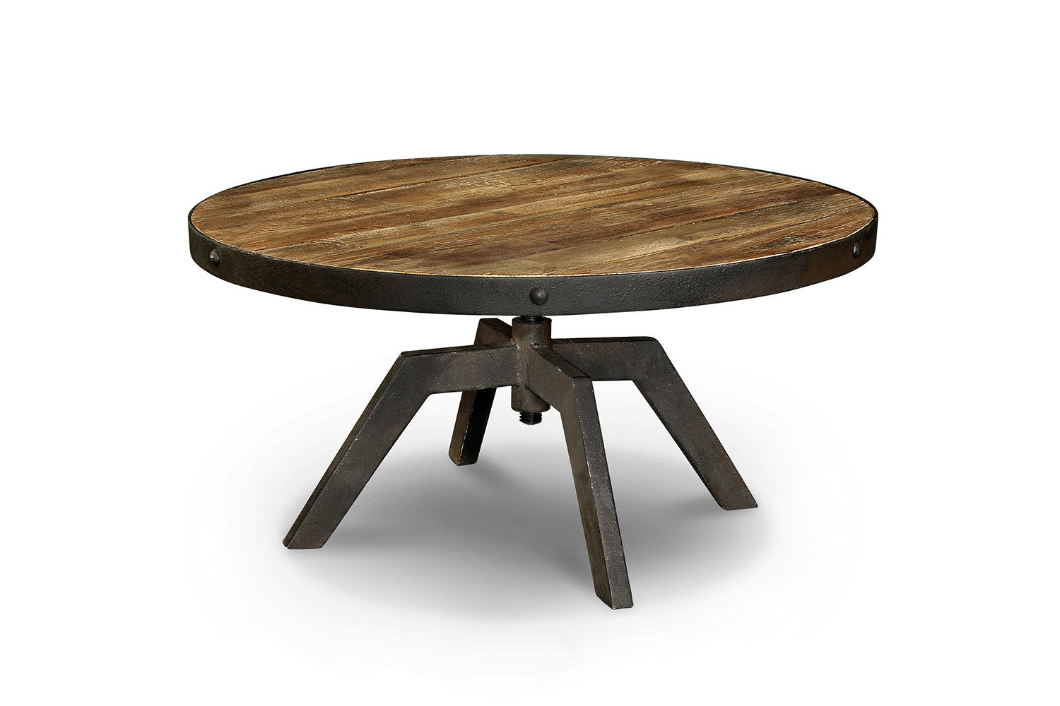 Table basse industrielle en bois et m tal tb03 rose for Table ronde style industriel