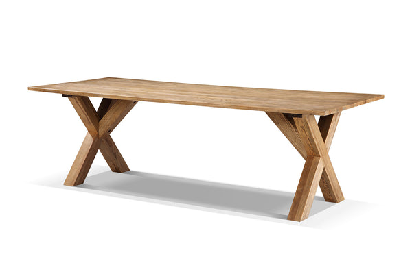 Table manger field en bois et pieds en x rose moore for Table d architecte en bois