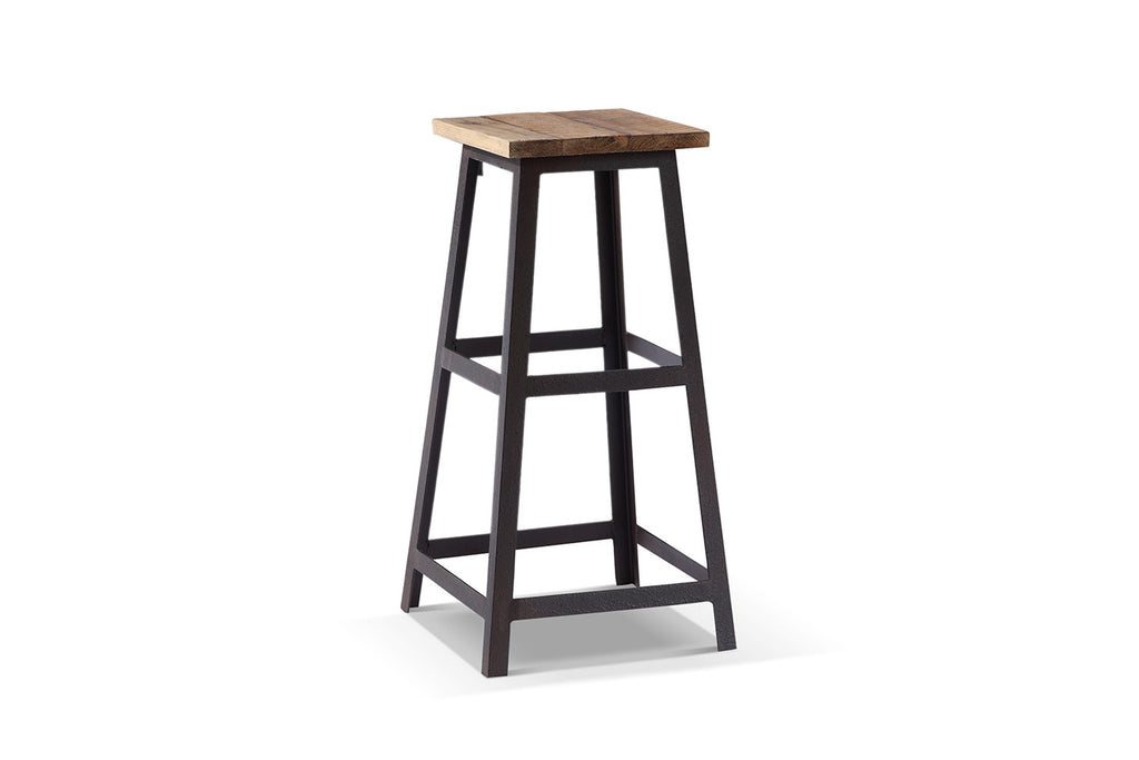 Tabouret De Bar Metal Et Bois.Tabouret De Bar Industriel Carre Ta02