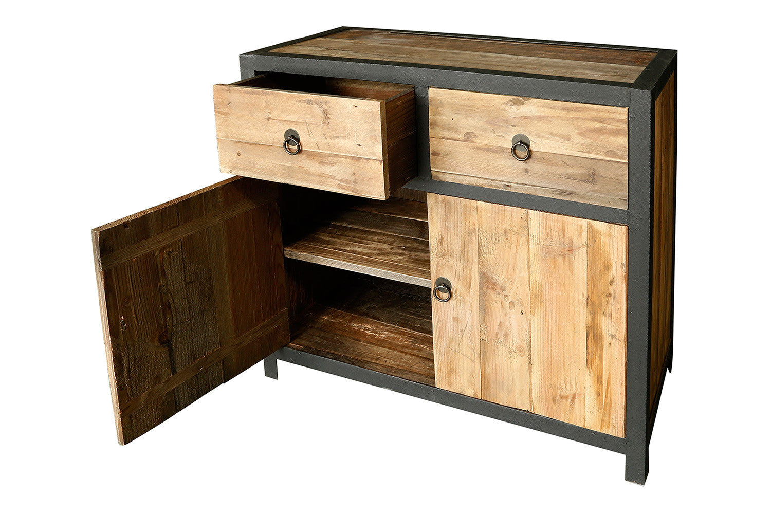buffet industriel en bois et m tal vb02 rose moore. Black Bedroom Furniture Sets. Home Design Ideas