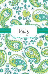 Green Paisley Cover Custom Planner