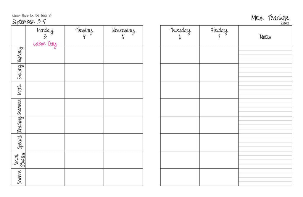 horizontal weekly lesson planner plan my planner