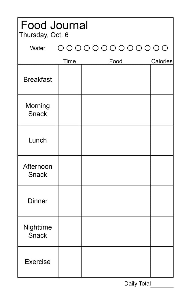 daily food journal plan my planner