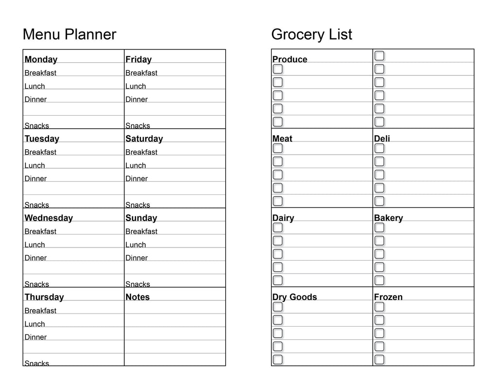 dinner planner with grocery list