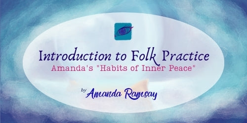 Introduction to FolkWoman: Amanda's Habits of Inner Peace, by Amanda Ramsay: image behind a transparent white oval is the weekly theme image for January 2021, an abstract digital watercolour of a crystal ball with the dominating colours being teal, blues, and a hint of brown.