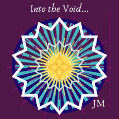 """Into the Void..."" reads white on plum background while a starburst shape including yellows, white, and various tones of blue in geometric patterns."