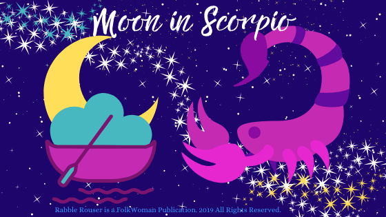 "A small boat and paddle carry a crescent moon toward a scorpion. The header reads ""Moon in Scorpio."""