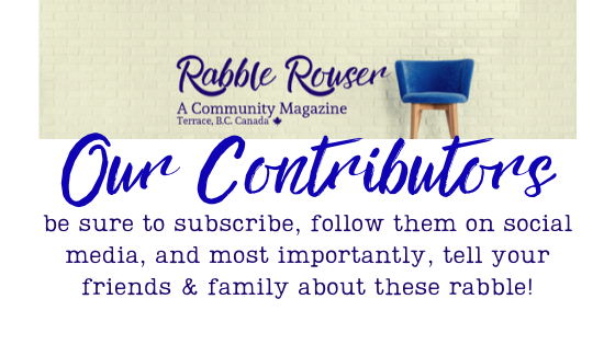 "Banner including rabble rouser magazine image with a blue stool in front of a brick wall. Copy reads: ""Our Contributors: be sure to subscribe, follow them on social media, and most importantly, tell your friends & family about these rabble!"