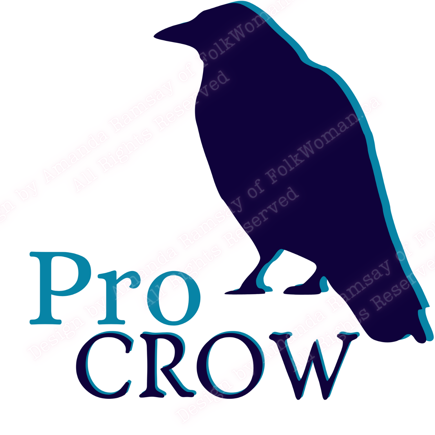 Pro Crow with an image of a Navy crow on a white background. Amanda's design for a t-shirt and jumbo sticker.