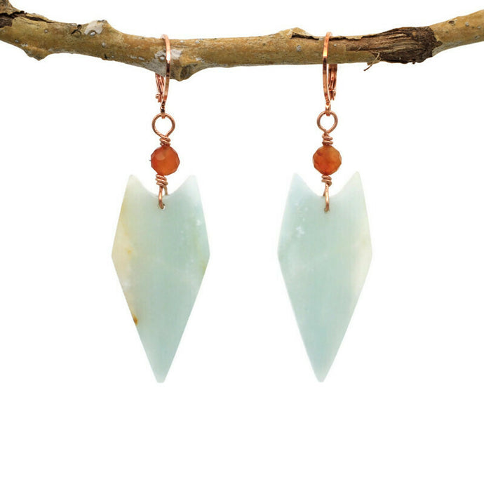Copper, Amazonite and Carnelian Earrings