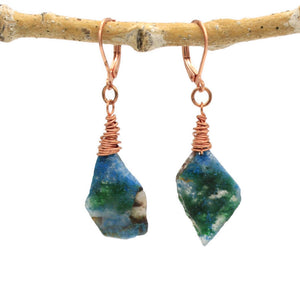 Rough Edge Chrysocolla and Copper Earrings