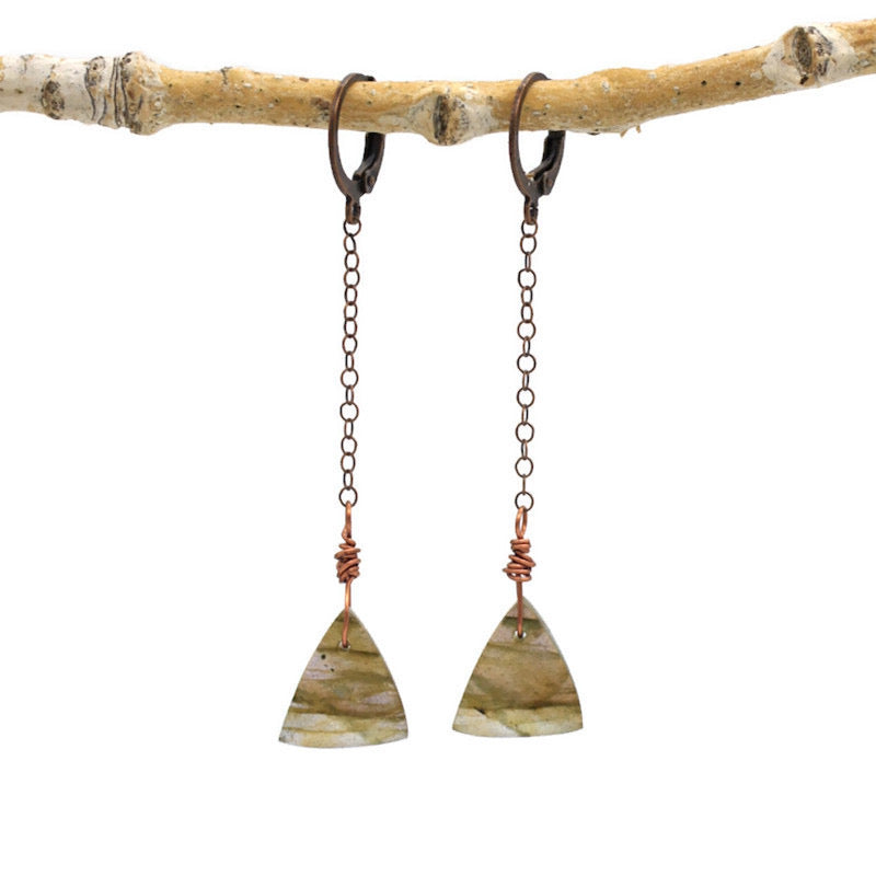 Labradorite Triangles with Copper Earrings