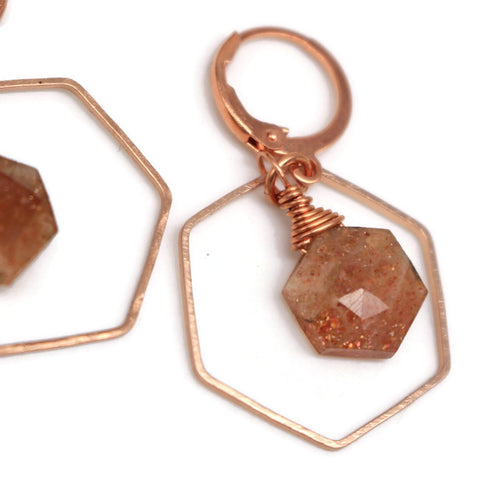 Hexagon Sunstone Earrings