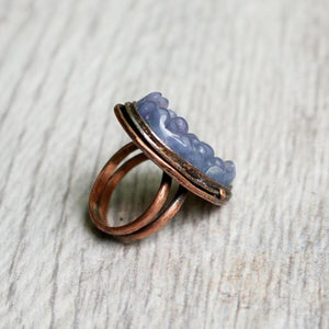 Copper and Grape Agate Ring