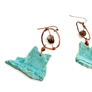 Chrysocolla Slice and Smoky Quartz Earrings