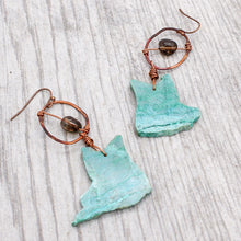 Load image into Gallery viewer, Chrysocolla Slice and Smoky Quartz Earrings
