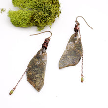 Load image into Gallery viewer, Moss Agate and Jade Copper Earrings