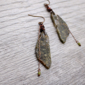 Moss Agate and Jade Copper Earrings