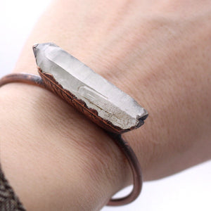 Quartz Crystal and Copper Cuff Bracelet