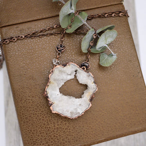Druzy Quartz and Copper Necklace