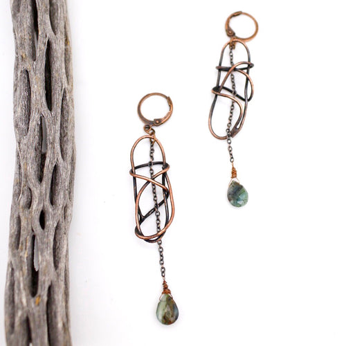 Peruvian Blue Opal and Copper Earrings