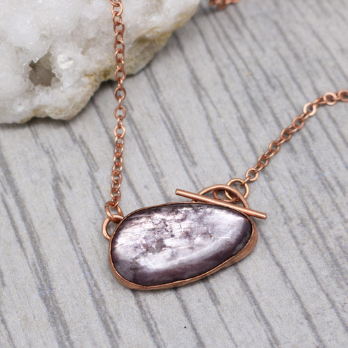 Lepidolite Keyhole Front Closure Copper Necklace