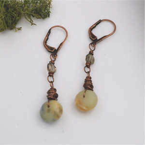 Matte Amazonite and Smoky Quartz Copper Earrings