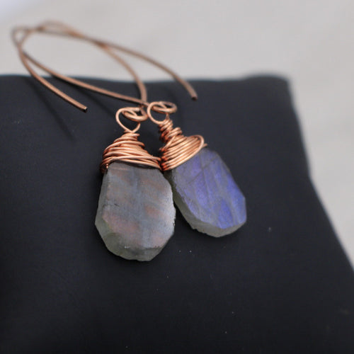 Copper Wrapped Labradorite Slice Earrings