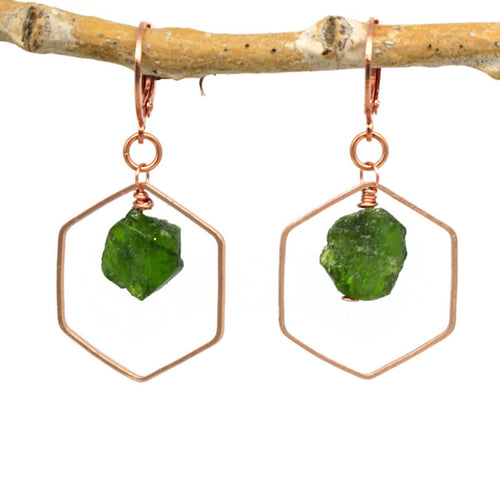 Hexagon Chrome Diopside Earrings
