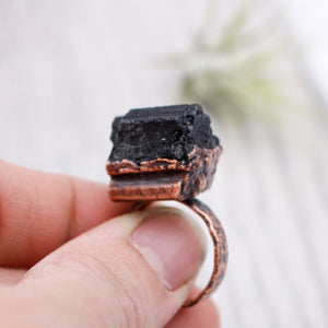 Black Tourmaline Copper Ring