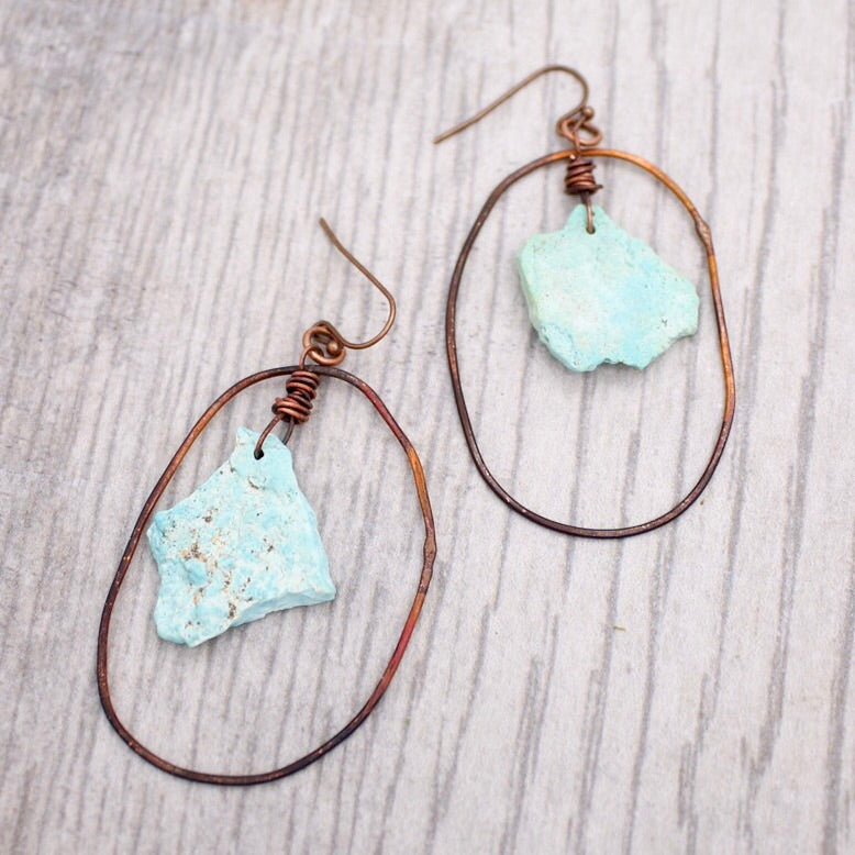 Sleeping Beauty Turquoise in Copper Hoops