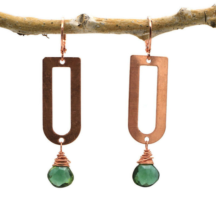 Green Hydro Quartz and Copper Earrings
