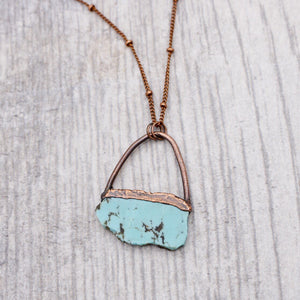 Turquoise Slice Copper Necklace