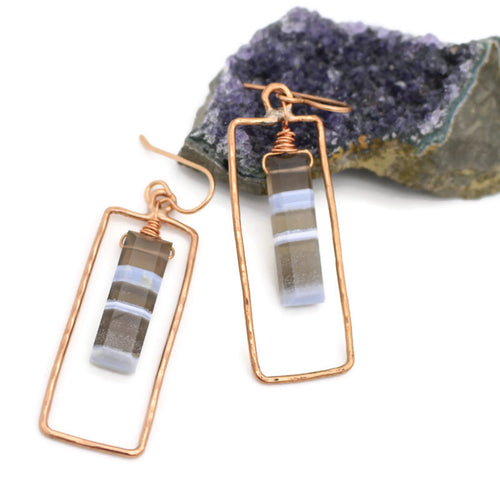 Blue Opal Rectangular Copper Earrings