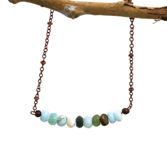 Copper and Peruvian Blue Opal Necklace