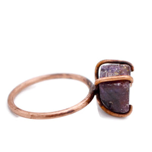 Raw Ruby Copper Prong Set Ring