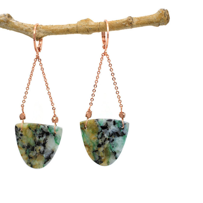 Chrysocolla and Copper Earrings