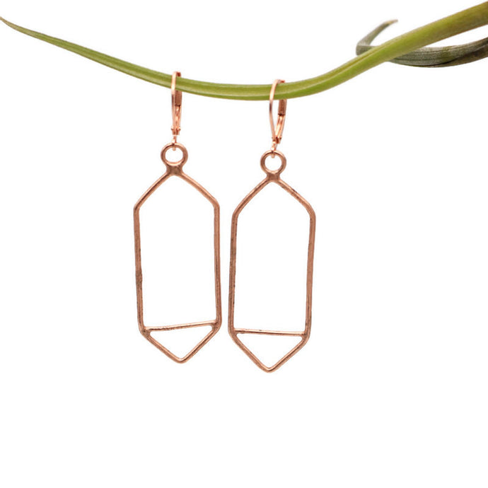 Bright Copper Geometric Earrings