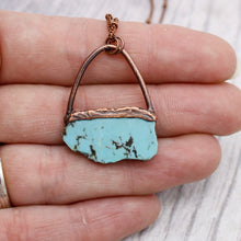 Load image into Gallery viewer, Turquoise Slice Copper Necklace