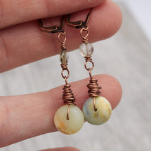 Load image into Gallery viewer, Matte Amazonite and Smoky Quartz Copper Earrings